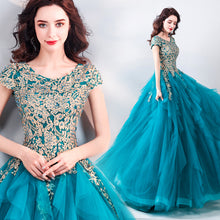 Load image into Gallery viewer, SSYFashion New Vintage Peacock Blue Evening Dress Lace Embroidery A-line Floor-length Luxury Formal Prom Gown Robe De Soiree