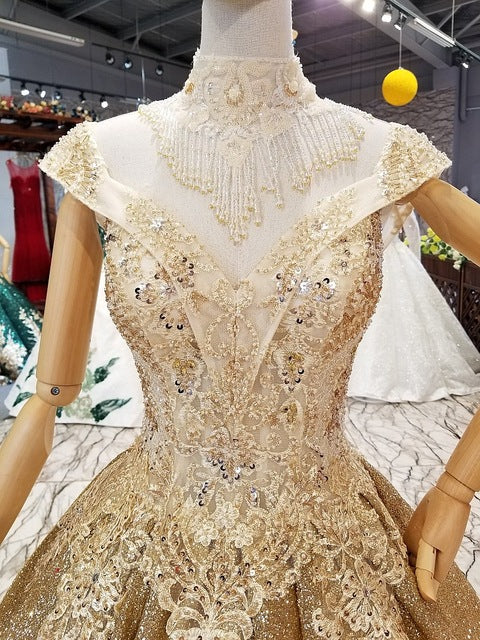 SSYFashion New High-end Vintage Gold Evening Dress Luxury Shining Lace Appliques Beading Long Prom Formal Gown Robe De Soiree