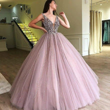 Load image into Gallery viewer, SSYFashion New Luxury Beading Evening Dress Purple Pink V-neck Sleeveless Floor-length A-line Prom Formal Gown Robe De Soiree