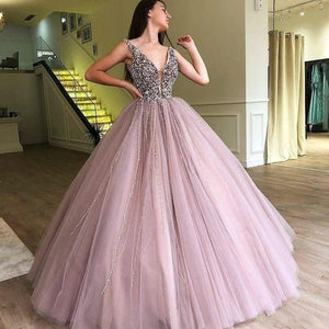 SSYFashion New Luxury Beading Evening Dress Purple Pink V-neck Sleeveless Floor-length A-line Prom Formal Gown Robe De Soiree