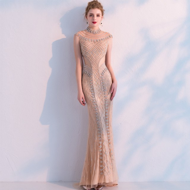 SSYFashion Luxury Champange Mermaid Evening Dress High-end Noble Handmade Beading Sexy Slim Fishtail Party Formal Prom Gown