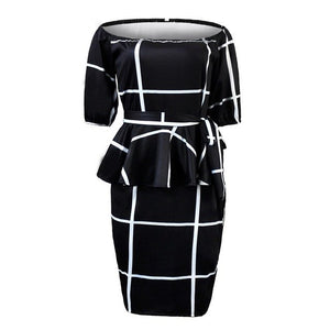 White Plaid Off Shoulder Bodycon Women Dress Plus Size 2018 Pullover Ruffle High Waist Ladies Prom Backless Sexy Office Dresses