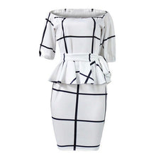 Load image into Gallery viewer, White Plaid Off Shoulder Bodycon Women Dress Plus Size 2018 Pullover Ruffle High Waist Ladies Prom Backless Sexy Office Dresses