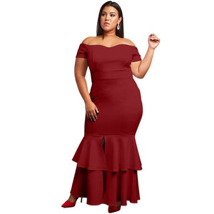 SEBOWEL Plus Size Mermaid Maxi Dresses for Woman Party Long Prom Gowns Ladies Female Large Size Bodycon Dresses XXXL 4XL 5XL