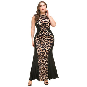 LEOPARD BODIED Bodycon Maxi Dress
