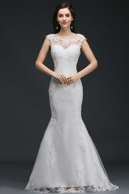 Robe De Mariage Sexy Cap Sleeve Button Back Mermaid Wedding Dresses  Elegant Appliques Lace Bridal Gowns with Sweep Train