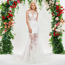 Load image into Gallery viewer, Dressv elegant mermaid scoop neck wedding dress sleeveless lace button floor length bridal outdoor&church wedding dresses