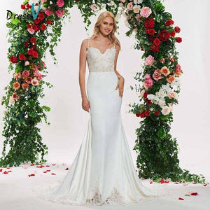 Dressv ivory elegant trumpet wedding dress spaghetti straps appliques lace up floor length bridal outdoor&church wedding dresses