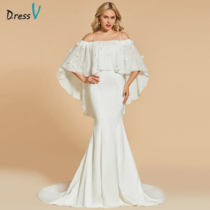 Dressv ivory long evening dress off the shoulder mermaid elegant lace wedding party formal dress trumpet evening dresses