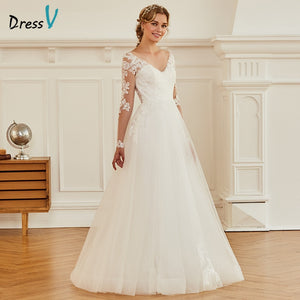 Dressv ivory a line appliques wedding dress long sleeves backless floor length bridal outdoor&church wedding dresses