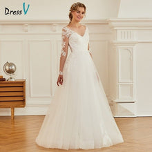 Load image into Gallery viewer, Dressv ivory a line appliques wedding dress long sleeves backless floor length bridal outdoor&church wedding dresses