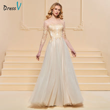 Load image into Gallery viewer, Dressv evening dress a line elegant long sleeves scoop neck floor-length beading wedding party formal dress evening dresses