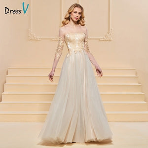 Dressv evening dress a line elegant long sleeves scoop neck floor-length beading wedding party formal dress evening dresses