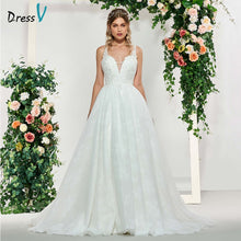 Load image into Gallery viewer, Dressv ivory elegant v neck a line appliques sleeveless wedding dress floor length bridal outdoor&church lace wedding dresses