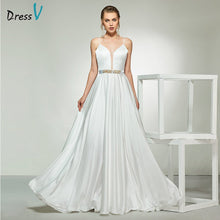 Load image into Gallery viewer, Dressv ivory elegant spaghetti straps beading a line sleeveless wedding dress floor length bridal outdoor&church wedding dresses