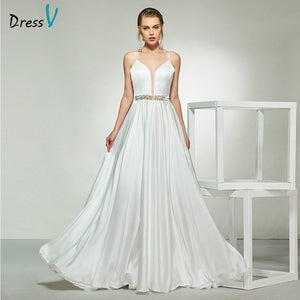 Dressv ivory elegant spaghetti straps beading a line sleeveless wedding dress floor length bridal outdoor&church wedding dresses