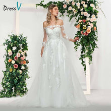 Load image into Gallery viewer, Dressv elegant ivory long sleeves button off the shoulder wedding dress floor length simple bridal gowns a line wedding dresses