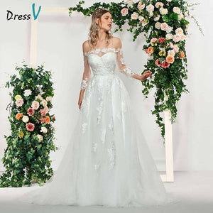Dressv elegant ivory long sleeves button off the shoulder wedding dress floor length simple bridal gowns a line wedding dresses