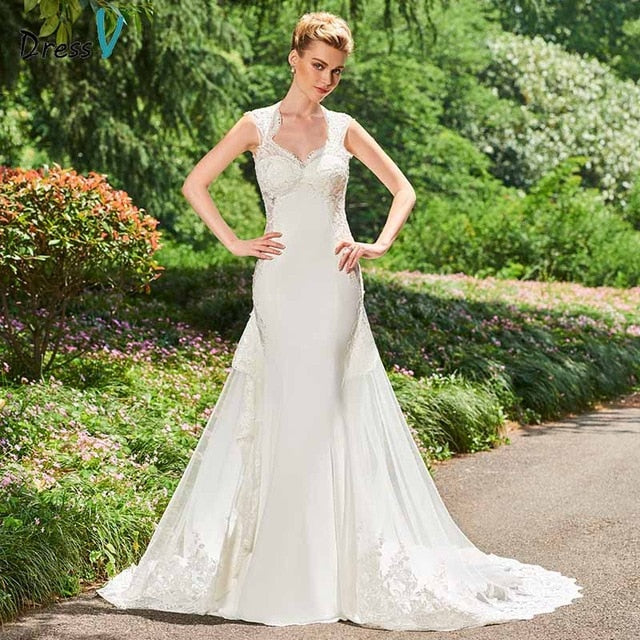 Dressv ivory mermaid appliques wedding dress sleeveless lace button floor length bridal outdoor&church wedding dresses