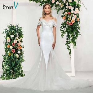Dressv ivory elegant spaghetti straps beading lace sleeveless wedding dress floor length simple bridal gowns wedding dresses