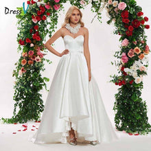 Load image into Gallery viewer, Dressv ivory elegant sweetheart neck sleeveless wedding dress flower ball gown floor length simple bridal gowns wedding dresses