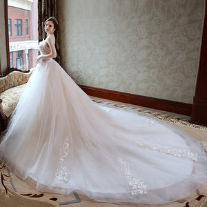 Vestido de Noiva Appliques Lace Flowers Princess Light champagne Wedding Dresses 2018 Strapless Train Ball Gown Bridal Dress