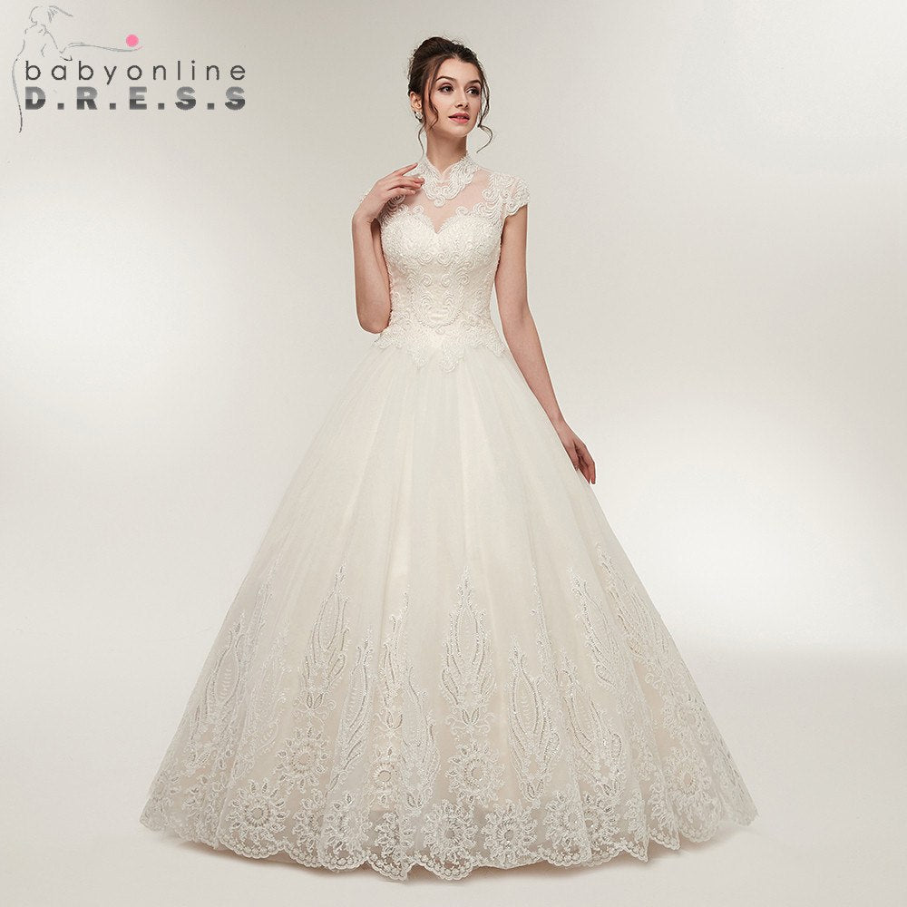 Sexy Open Back Back Ball Gown Lace Wedding Dress  Elegant High Collar Lace up Bridal Dress Vestido de Noiva