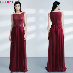 Burgundy Bridesmaid Dresses Plus Size Ever Pretty EZ07543 Elegant Lace A-line Chiffon Sleeveless Long Sexy Wedding Guest Gowns