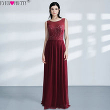 Load image into Gallery viewer, Burgundy Bridesmaid Dresses Plus Size Ever Pretty EZ07543 Elegant Lace A-line Chiffon Sleeveless Long Sexy Wedding Guest Gowns