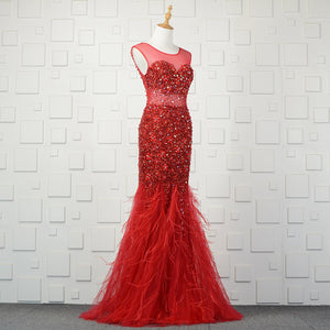 Ostrich Feather Crystal Beading Formal Evening Dress