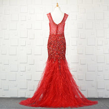 Load image into Gallery viewer, Ostrich Feather Crystal Beading Formal Evening Dress