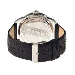Breed Alton Leather-Band Moon-Phase Men's Watch  -  Silver/Black
