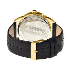 Breed Alton Leather-Band Moon-Phase Men's Watch  -  Gold/Black