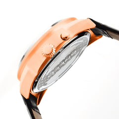 Breed Alton Leather-Band Moon-Phase Men's Watch  -  Rose Gold/White
