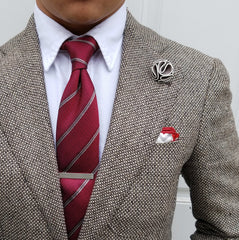 Red with grey Stripe Silk Necktie from Ocean Boulevard