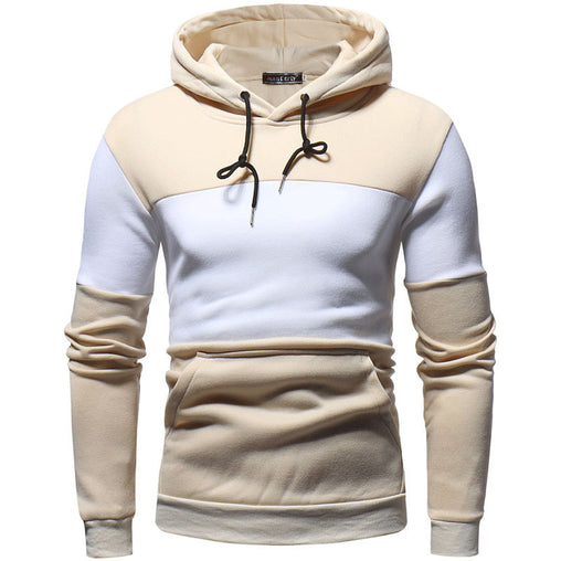 2019 New Autumn men's stitching hoodeis plus size slim fit sweatshirt men's hooded pullover fleece raglan sleeve hoodies H017