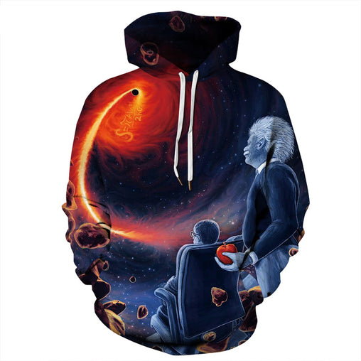 2019 new fashion autumn hoodies and sweatshirt black hole Einstein digital print lovers hooded hoodies baseball uniform G026