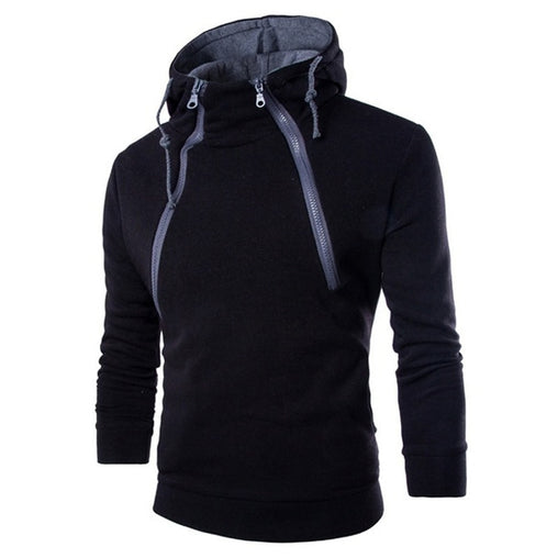 2019 new winter and autumn hoodies new fashion double zipper cardigan hit color hooded jacket European code fleece hoodies H002