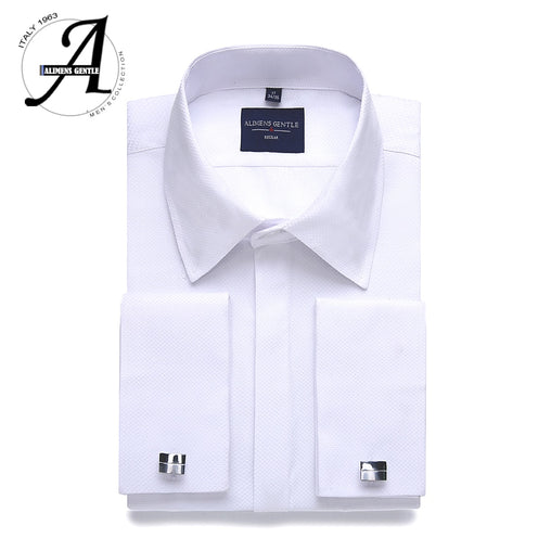 Alimens & Gentle Plus size regular fit hidden placket french dress shirt men long sleeve includ cufflinks and collar stays