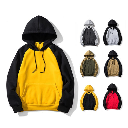 Autumn and Winter Hoodies Men Fashion Patchwork Hooded Sweatshirt Hoody Long Sleeve Harajuku US Size Fleece Loose Pullover H003