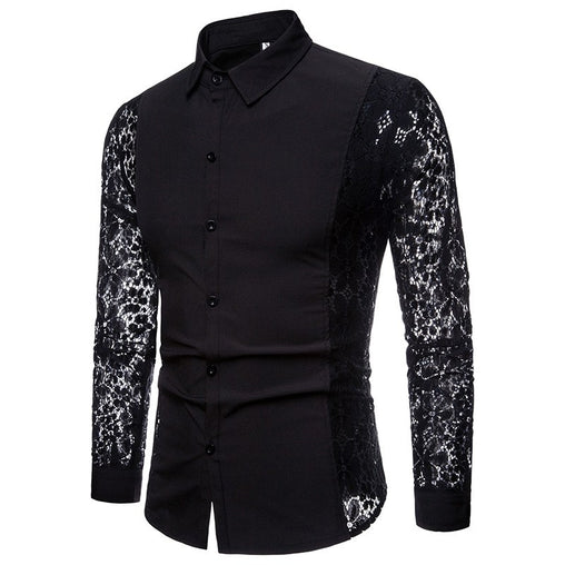 Autumn and winter fashion casual men's clothing solid color personality creative arm lace solid color Slim polyester men shirt!