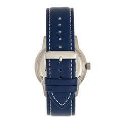 Morphic M71 Series Leather-Band Watch w/Date - Silver/Blue