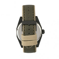 Morphic M59 Series Leather-Overlaid Canvas-Band Watch - Olive
