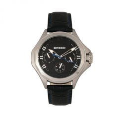 Breed Tempe Leather-Band Watch w/Day/Date - Black/Silver
