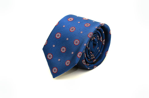 Blue, red and white Medallion Silk Necktie from Ocean Boulevard