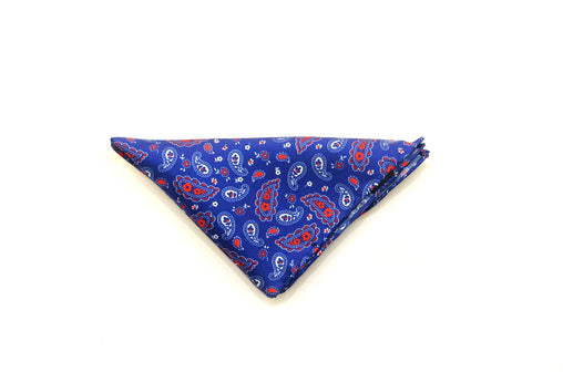 Ocean Boulevard Blue red and white paisley silk pocket square
