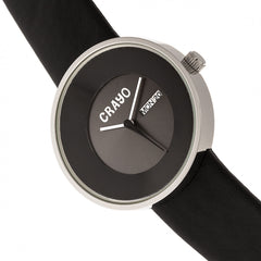 Crayo Button Leather-Band Unisex Watch w/ Day/Date - Black