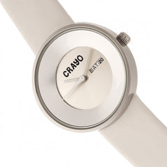 Crayo Button Leather-Band Unisex Watch w/ Day/Date - White