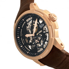 Reign Matheson Automatic Skeleton Dial Leather-Band Watch - Brown/Rose Gold