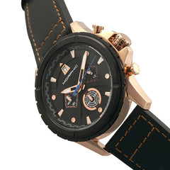 Morphic M57 Series Chronograph Leather-Band Watch - Rose Gold/Black